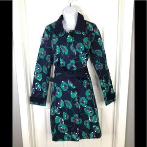 ModCloth spring floral Trench Coat navy NWOT